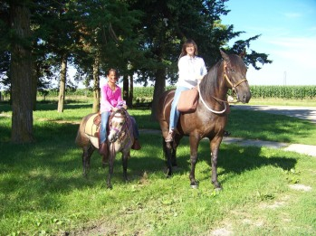 A 12-mile mother-daughter trail ride; this is the halfway point.